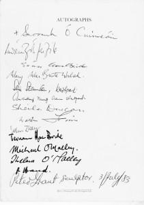 Ceremonies Booklet Signatories Page